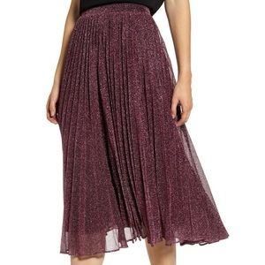 Chelsea 28 Pleated Midi Glitter Skirt NWT